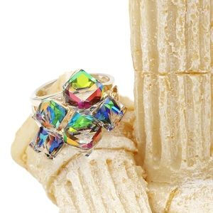 Ocean Fashion Jewelry - Colorful phantom crystal cube ring